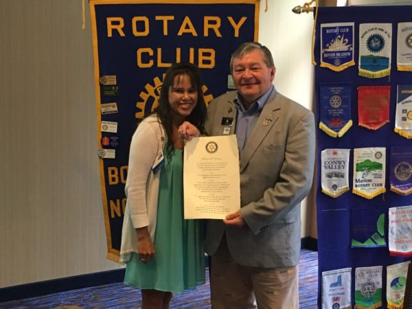 From left, Boone Sunrise Rotary President Rosa Ivey welcomes District 7670 Governor Barry Dills to the most recent Club meeting on Tuesday, Aug. 2.