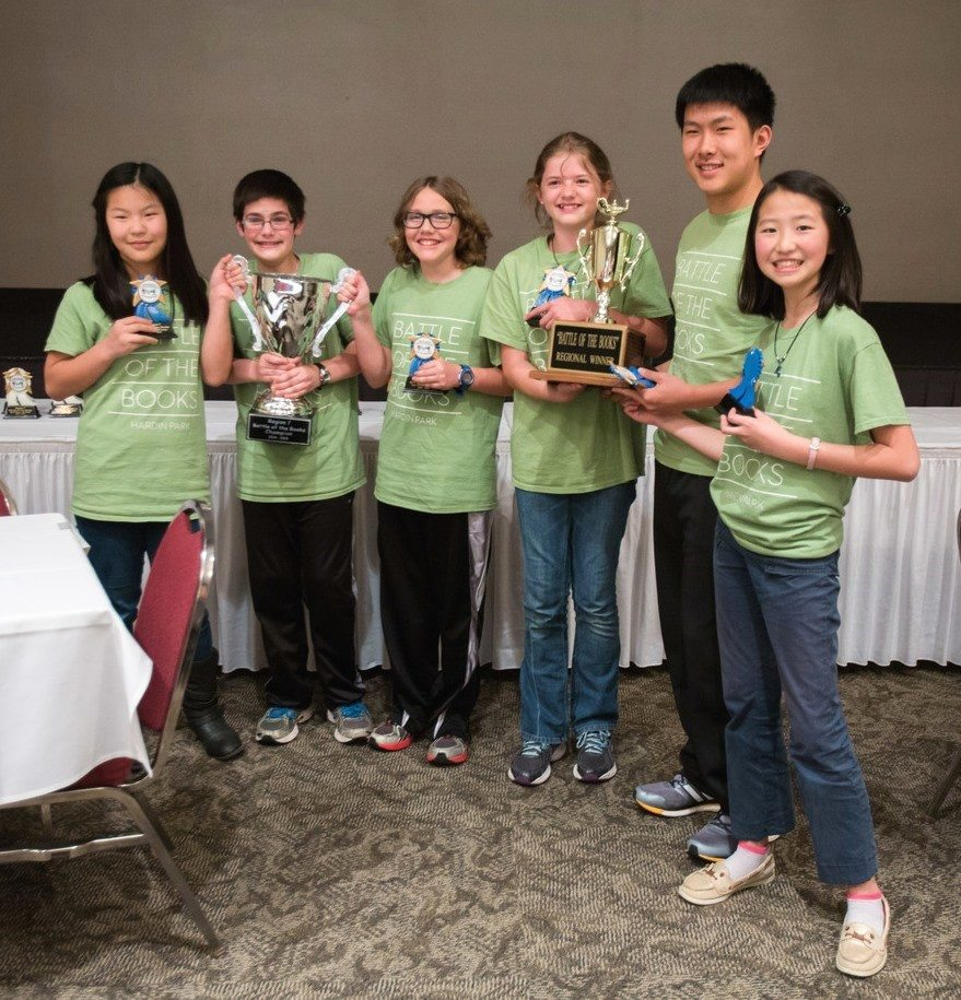 The regional Battle of the Books champions from Hardin Park (from left): Lucy Rapfogel, Ethan Turner, Gabe Souza, Carsyn Howarth, Bryant Hou, and  Li Yang.  Photo courtesy of Richard Rapfogel, www.rapfogel.com.