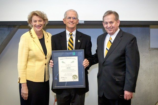 Local attorney Jim Deal was honored with the Order of the Long Leaf Pine award on March 27 at an Appalachian State University Board of Trustees meeting. On his left is ASU Chancellor Sheri Everts, and on his right is ASU Board of Trustees Chairman Brad Adcock