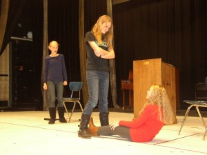 "Rehearsal from ""Last Testament"" (L to R) Savannah Troyer, Lucy Gray, Katie Williams. Photo courtesy of Ensemble Stage"