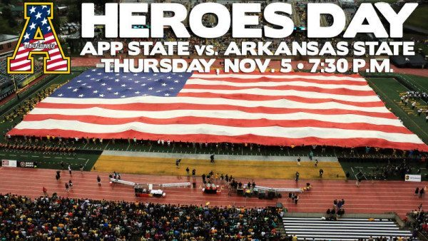Appalachian State will honor military personnel, first responders and veterans as part of Heroes Day festivities during the Mountaineers' pivotal Sun Belt Conference showdown versus Arkansas State on Nov. 5. Photo by Rob Moore (www.mtnsnapshots.com) / App State Athletics